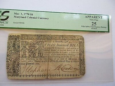 Colonial Currency Maryland 1770, $8, PCGS Very Fine-25 apparent