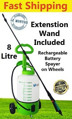 Weed Sprayer 8L Rechargable Battery Wheels Electric Pump Garden Powered 6v/240v