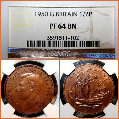 1950 Great Britain  1/2  Penny NGC   PROOF 64 BN