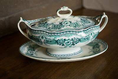 Ford & Sons Ltd. Green and White Transfer Soup Tureen