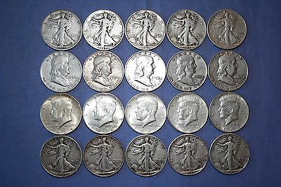 Walking Liberty, Franklin, Kennedy 90% Silver Halves: Free Shipping - (20) Coins
