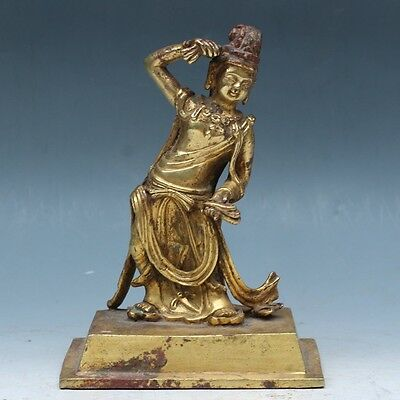 """Chinese Exquisite hand-carved """"Guanyin"""" carving copper Gilt statue"""
