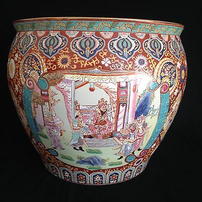 Chinese Fish Bowl Planter Flower Pot Palace Scene 8th 9th