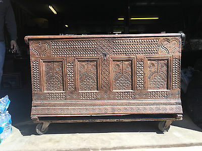 Antique 16th / 17th Century European Oak Coffer Trunk w/ Carved Front