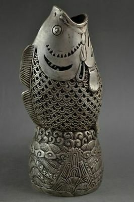 Handwork Miao Silver Carved Crap Jump Longmen Fortune Incense Burner