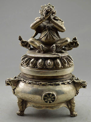 Collectible Ancient Old Handwork Tibet Silver Dragon Buddha Incense Burner  15cm