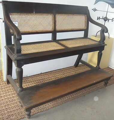 Billiards Antique Spectator's Bench with newly recaned seats. Teak 116 x132x86cm