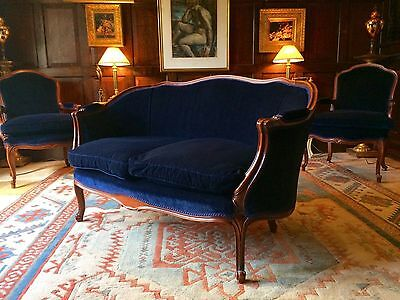 Stunning French Louis XV Style Sofa Settee Armchairs Suite Three Piece Blue