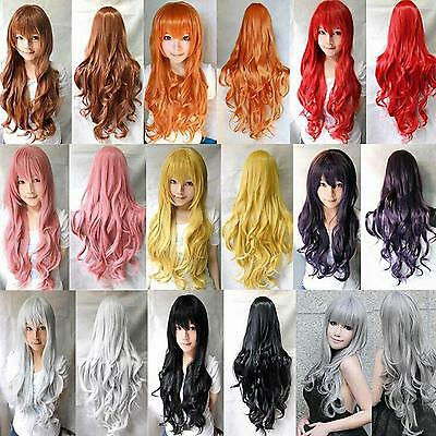 Moda Fashion Donna Lunghe Ondulate Capelli Ricci Anime Cosplay Festa Completo