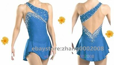 Ice skating dress.blue Competition Figure Skating dress.Sparkles Twirling custom
