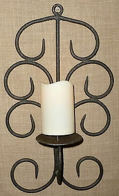 Beautiful VINTAGE 'TWIGS DESIGN' HANDMADE WROUGHT IRON PILLAR CANDLE WALL SCONCE