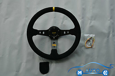 350mm/14inch Deep Dish Sport Racing SUEDE Steering Wheel + Horn Button Auto