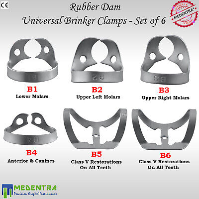 X6 BRINKER Rubber Dam Clamp Universal Clamps Upper Premolar Metal Clamp Anterior