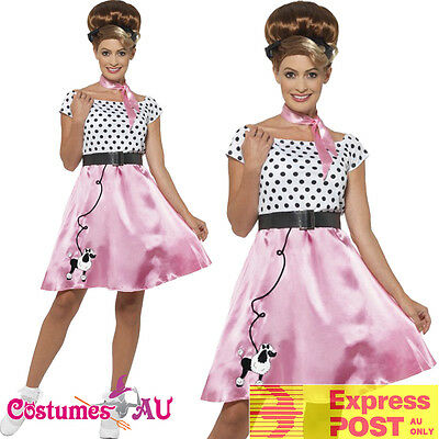 Ladies 1950s Rock N Roll Costume 50s Poodle Grease Rockabilly Dance Pink Outfits