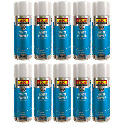 Hycote White Primer 10 Spray Cans Paint 400ml
