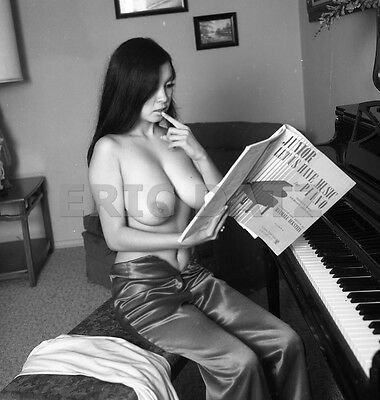1960s Vogel Negative, busty nude Asian pin-up girl Toni Kim at piano, t973957