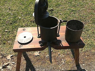 VINTAGE  SAUSAGE STUFFER / FRUIT PRESS, Enterprise 4 QT #25 With Wood Stand