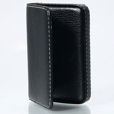 Business Portable Artificial PU Leather ID Credit Card Holder Case Wallet Black
