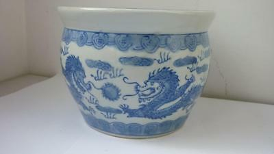 Chinese Blue And White Dragons Porcelain Planter c 20th century