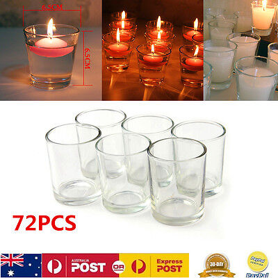72pcs Clear Glass Candle Holders Oil Burner Water Cups For Event Wedding Decor