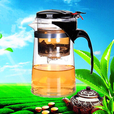 500ML All In One Glass Tea Coffee Maker Mug Pot Push Filter Infuser Straight
