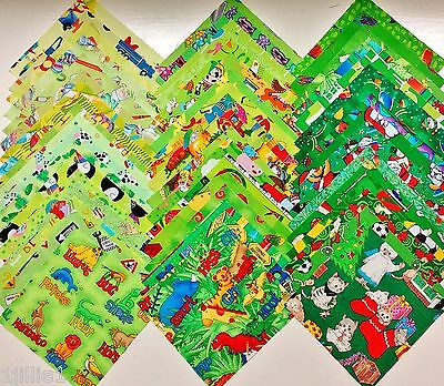 40 GREEN Kids I Spy Novelty Quilting Fabric 5 Inch Squares ALL DIFFERENT