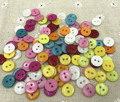 200 Pcs 9mm Mixed Round Acrylic 2 Hole Buttons Craft Scrapbooking Sewing Q76
