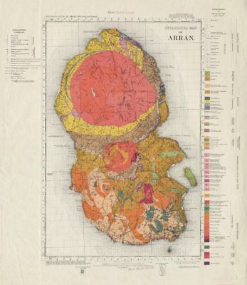 Geological map of Arran, solid edition geological survey sheet  Scotland 1961