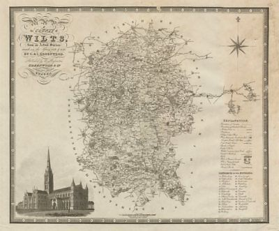 """""""Map of the county of Wilts"""". Wiltshire. GREENWOOD / WALKER. Large 75x60cm 1829"""