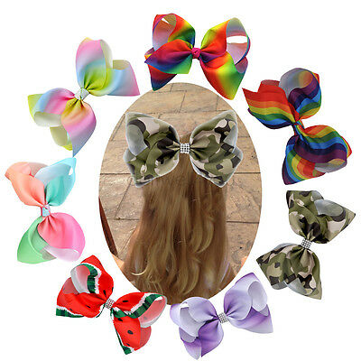 8 INCH Children Girls  Rainbow Grosgrain Hair Bows Alligator Clip Accessories