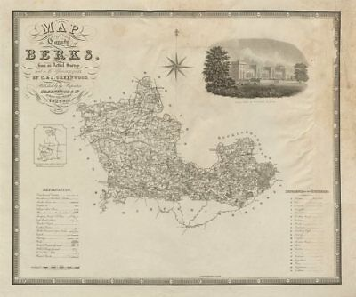 """""""Map of the county of Berks"""". Berkshire. GREENWOOD / DOWER. Large 75x60cm 1829"""