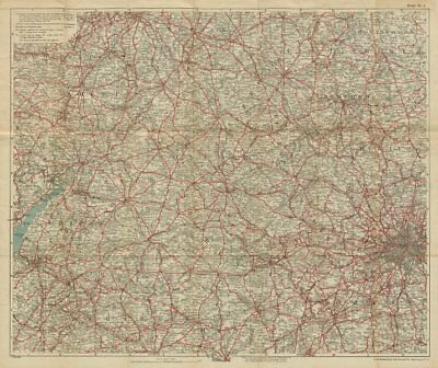 50 MILES ROUND OXFORD. Thames Valley, Cotswolds & Chilterns. BACON c1923 map