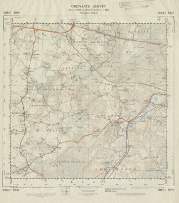 Vintage Ordnance Survey OS map sheet TR05 Boughton Sheldwich Challock 1964