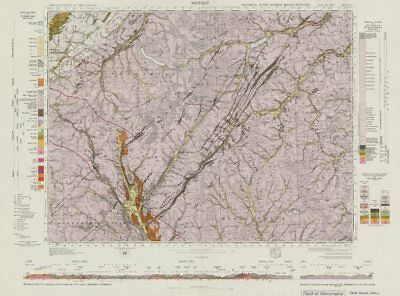Moffat. Vintage geological survey map. Sheet 16. Scotland 1968 old vintage