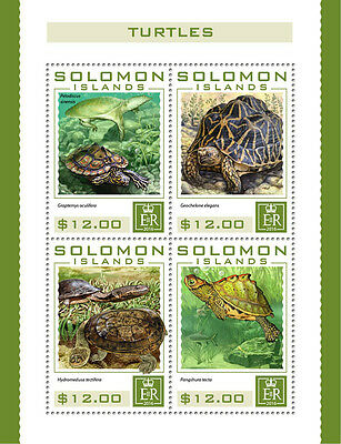 Solomon Islands 2016 MNH Turtles 4v M/S Ringed Map Turtle Reptiles Stamps