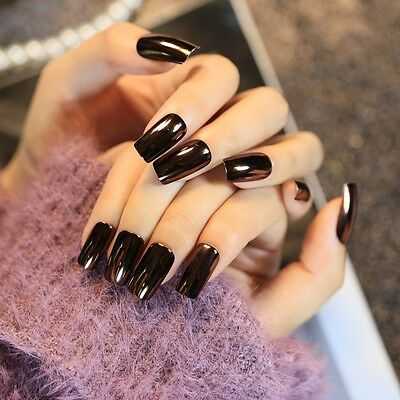 24 pcs Dark Mirror Reflective False Nails Long Square Full Artificial Nails Tips