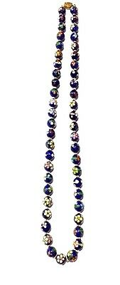 Antique Chinese Cloisonne Necklace with Gilt Silver Clasp