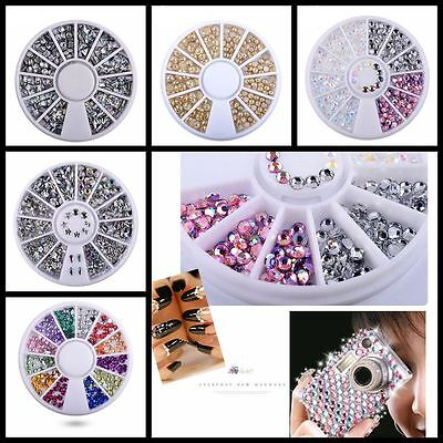 Decoration 3D DIY Nail Art Wheel Glitters Acrylic Tips Rhinestones