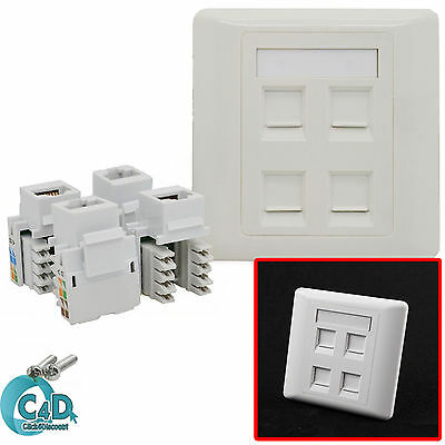 RJ45 Network LAN Cat6 4 Port Faceplate Single Gang Wall Socket & Keystone Jacks