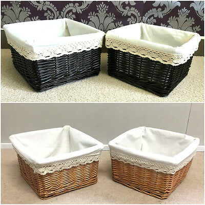 2x Small Wicker Basket Lined Gift Hamper Bathroom Storage Shabby Chic Display
