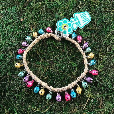 HOTI Hemp Handmade Natural Multi Colour Pastel Bells Anklet Ankle Bracelet NWT