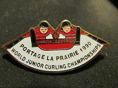** Vintage Pinback Pin Badge Curling Portage World Junior 1990 Bonspiel **