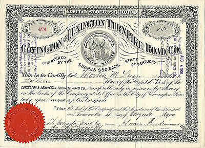 KENTUCKY 1900, Covington & Lexington Turnpike Road Co  Stock Certificate