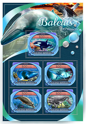 Guinea-Bissau 2016 MNH Whales 5v M/S Killer Whale Marine Animals Stamps