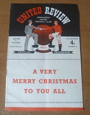 Manchester United (Champions) v Fulham, 1951/52 - Division One Match Programme