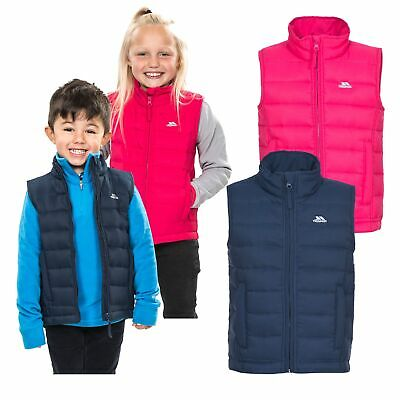 Trespass Jadda Boys Girls Padded Gilet Kids School Body Warmer in Pink & Navy