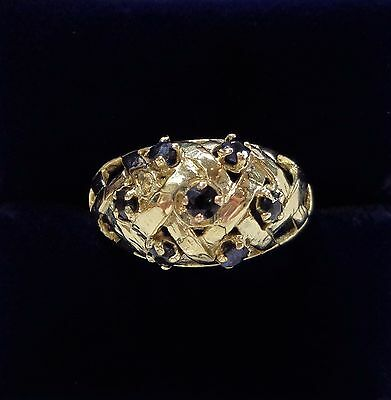 Vintage c.1974 9ct Yellow Gold Sapphire Boule Ring with Lattice Design