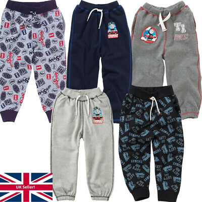 Boys Thomas The Tank Engine Fleece Jog Pants Elasticated Navy Blue Grey 1-6 yrs