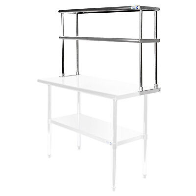 "Commercial Stainless Steel Kitchen Prep Table Wide Double Overshelf - 12"" x 48"""