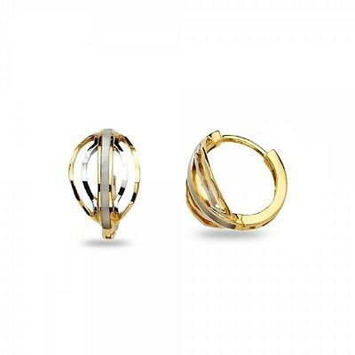 141202e0413ac SMALL OVAL HEART Huggie Hoop Earrings Solid 14k Yellow White Gold ...